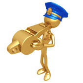 Golden Police Officer Blowing Whistle — Stock Photo