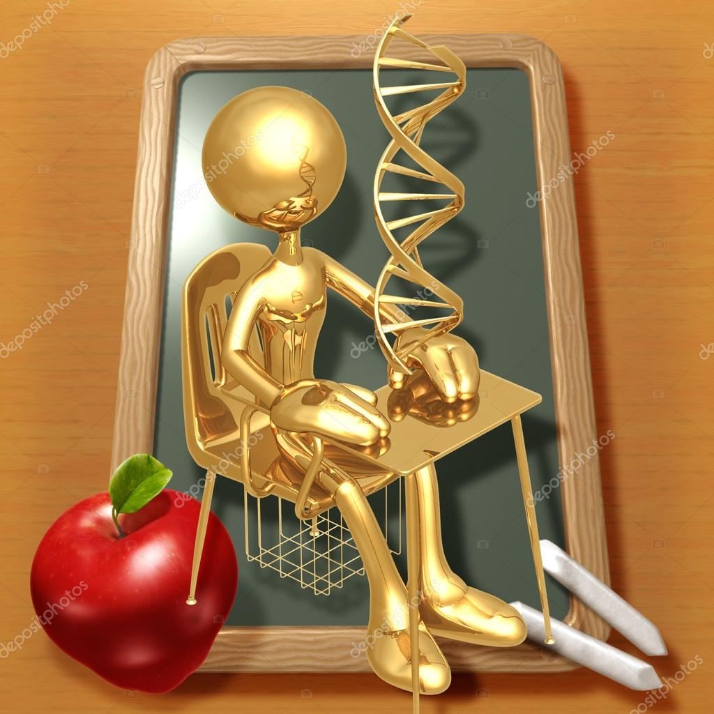 Little Golden Student With DNA Above School Desk — Stock Photo #12277172