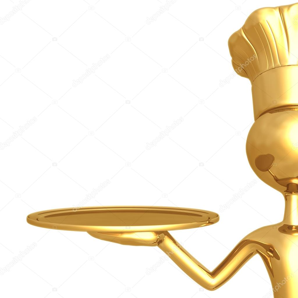 Golden Chef With Empty Serving Tray — Stock Photo #12279293