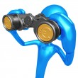Financial Outlook Binoculars With Gold Coin Lenses — Stock Photo