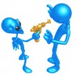 Alien Invader With Retro Raygun - Stockfoto