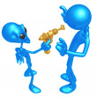 Alien Invader With Retro Raygun — Stock Photo