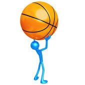 Holding Giant Basketball — Stock Photo