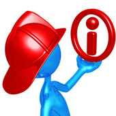 Fireman With Info — Stock Photo