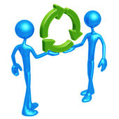Working Together For Recycling — Stock Photo