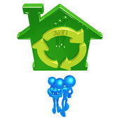 Family With Green Home — Stock Photo