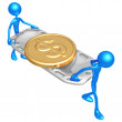 Gold Dollar Coin On Stretcher — Stock Photo