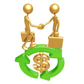 Green Business Handshake Dollar — Stock Photo