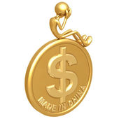 Made In China Dollar Coin — Stock Photo