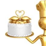 Golden chef serving wedding — Stock Photo