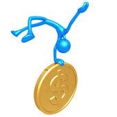 Jump For Joy Gold Dollar Coin — Stock Photo