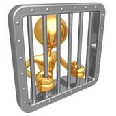 Man behind bars — Stock Photo