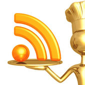 Golden chef serving rss feed — Stock Photo