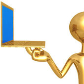 Gold guy with computer — Foto Stock