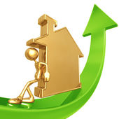 Pushing golden home up — Stock Photo