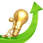 Pushing golden idea up — Stock Photo