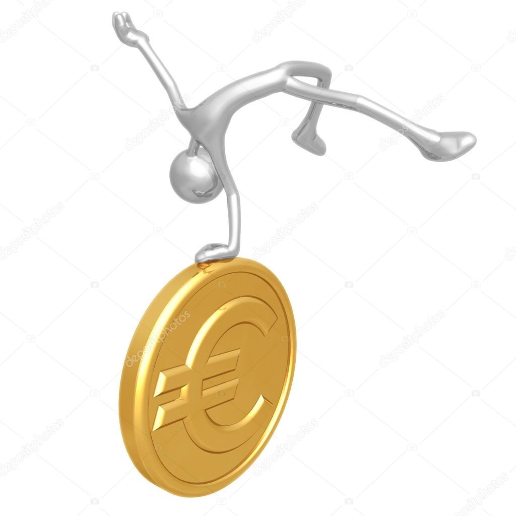 Jump For Joy Gold Euro Coin — Stock Photo #12301392