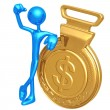 Stock Photo: Gold Medal Dollar Winner