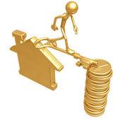 Pont d'or clé entre une idée et yens pièces — Photo