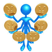 Handling Multiple Yen Coins — Stock Photo