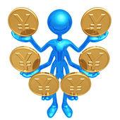 Handling Multiple Yen Coins — Stock Photo