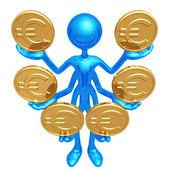 Handling Multiple Euro Coins — Stock Photo