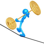 Tightrope Dollar — Stock Photo