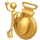 Gold Medal Football Winner — Stock Photo