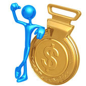 Gold Medal Dollar Winner — Stock Photo
