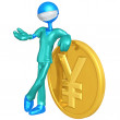 3D Doctor Character With Yen Coin — Stock Photo #12343220