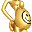 Smiley Face Pregnant Belly - Stock Photo