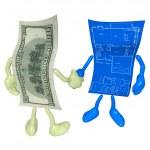 Money Home Construction Blueprint Handshake — Stock Photo #12349772