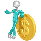 3D Doctor Character With Dollar Coin — Stock Photo