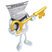 401K Form With Gold Key — Stock Photo