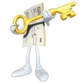 Blankoscheck mit goldenen Schlüssel — Stockfoto