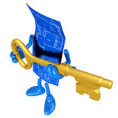 Home Construction Blueprint With Gold Key — Stock Photo
