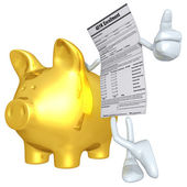 401K Form With Gold Piggy Bank — Stock Photo