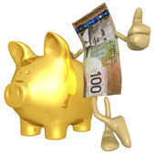 Money With Gold Piggy Bank — Stock Photo