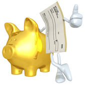 Blank Check With Gold Piggy Bank — Stock Photo