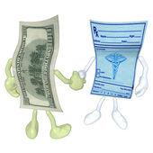 Pieniądze recepty uścisk dłoni — Zdjęcie stockowe