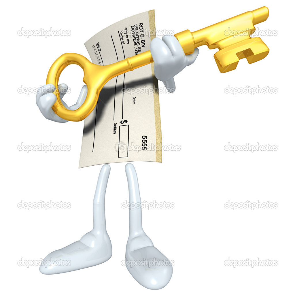 Blank Check With Golden Key — Stock Photo #12349235