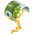 3D Character With Money - Stock Photo