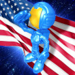 Stock Photo: Mini Astronaut With Flag