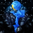 Mini Astronaut In Xeno Egg Hive - Stock Photo