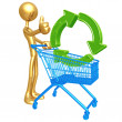 Shopping Cart Green Recycling - Stock Photo