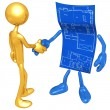 Home Construction Blueprint Handshake — Stock Photo