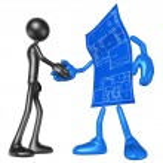 Home Construction Blueprint Handshake — Stock Photo #12357306