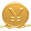 Holding Gold Yen Coin — Stock Photo #12358288