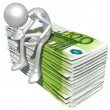 3D Character With Money — Stock Photo
