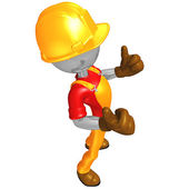 3D Construction Worker Character — Stock Photo